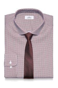 Print Slim Fit Shirt And Tie Set