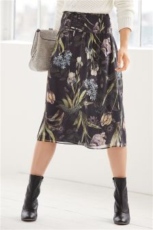 Floral Lace Up Midi Skirt