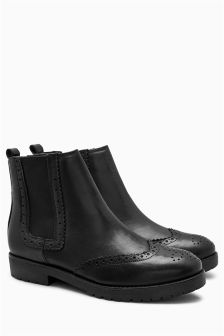 Cleated Chelsea Brogue Boots