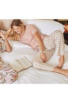 Slogan Pocket Striped Pyjamas