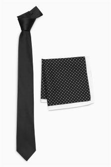 Галстук и платок для нагрудного кармана в горошек