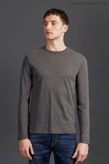 French Connection Charcoal Classic Crew Long Sleeve T-Shirt