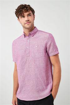 Short Sleeve Linen Blend Overhead Shirt