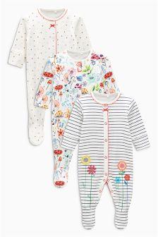 Pack de tres pijamas tipo pelele de flores (0 meses-2 años)