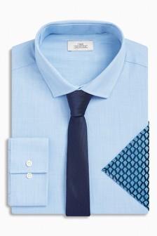 Koszula z krawatem i poszetką w zestawie