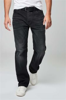 Washed Belted Jeans