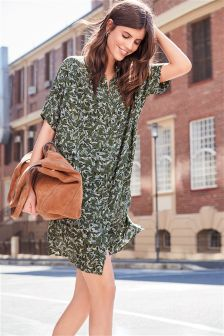 Bird Print Shirt Dress