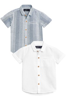 Short Sleeve Linen Rich Shirts Two Pack (3mths-6yrs)