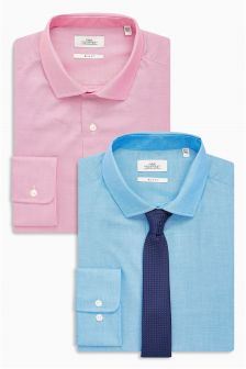 Slim Fit Shirts Two Pack With Tie Set