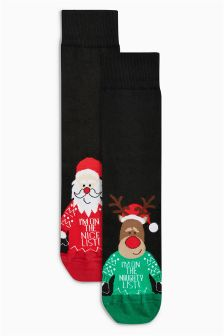 Rudolph And Santa Footbed Socks Two Pack