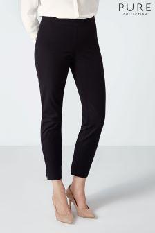 Черные укороченные хлопковые брюки из эластичной ткани Pure Collection