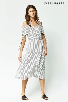 Warehouse Blue Stripe Tie Detail Midi Dress