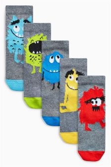 Fluffy Monster Socks Five Pack (Younger Boys)