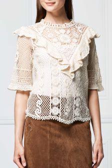 Crochet Ruffle Sweater