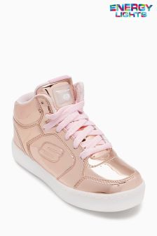 Skechers® Gold Metallic Mid Top Lace Up Sneaker