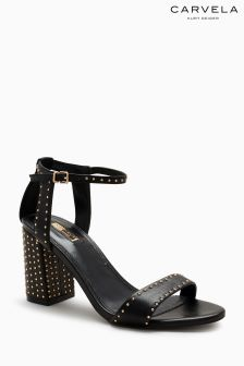 Carvela Black Gogo Leather Pin Stud Sandal