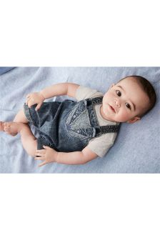 Denim Cropped Badger Dungarees And Bodysuit (0mths-2yrs)