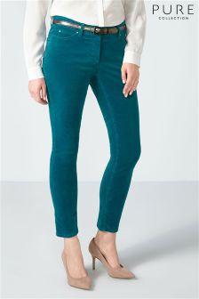 Бледно-голубые бархатные укороченные джинсы Pure Collection