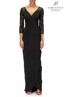 Adrianna Papell Black Long Dress With Lace Sleeves