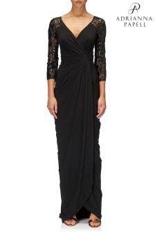Длинное черное платье Adrianna Papell с кружевными рукавами