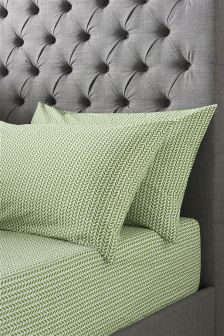 Green Leaf Fitted Sheet Set Studio Collection By Next