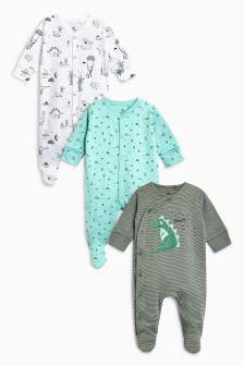 恐龙连体睡衣三件装 (0个月-2岁)