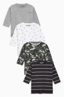 Stripe/Camo/Crosses/Monster Zip Long Sleeve T-Shirt Four Pack (3mths-6yrs)