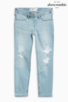 Abercrombie & Fitch Light Wash Lace Patch Jean