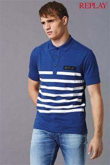 Replay® Blue Stripe Patch Logo Pique Polo