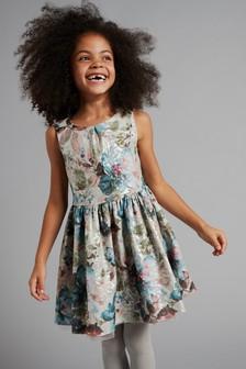 فستان جاكار معدني (3-16 سنة)
