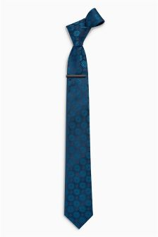 Circle Pattern Tie And Tie Clip