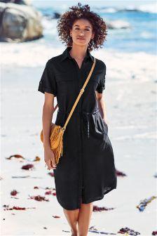 Платье-рубашка миди из льняной смеси