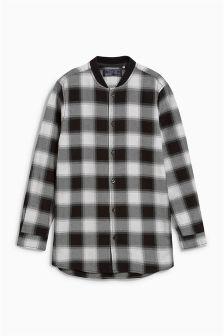 Рубашка в клетку с длинными рукавами и воротничком в рубчик (3-16 лет)
