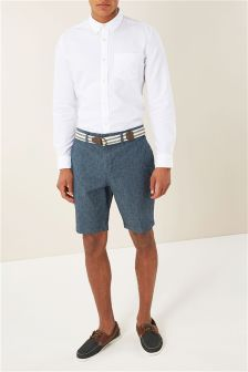 Chambray Printed Belted Shorts