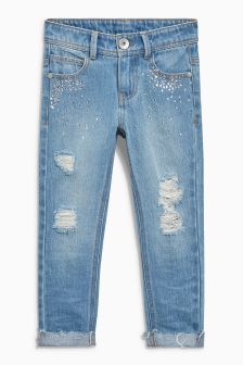 Jewelled Distressed Relaxed Jeans (3-16yrs)