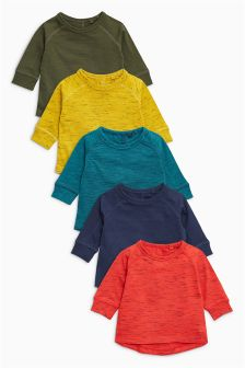 Textured Long Sleeve T-Shirts Five Pack (3mths-6yrs)
