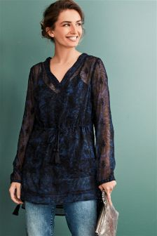 Longline Embroidered Top