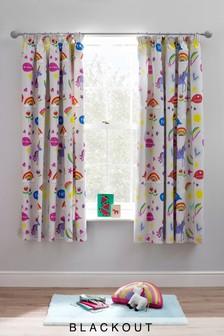 Rainbow And Unicorn Blackout Pencil Pleat Curtains