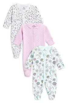 Pack de tres pijamas estampado flores (0 meses-2 años)
