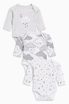 Cloud Long Sleeve Bodysuits Three Pack (0-9mths)