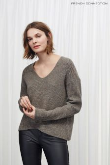 French Connection Brown Two Tone Knits V-Neck Jumper
