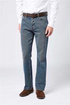 Vintage Wash Belted Jeans