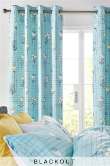 Retro Floral Blackout Lined Eyelet Curtains