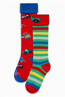 Transport Welly Socks Two Pack (Younger Boys)
