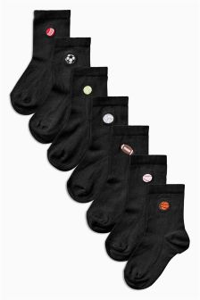 Sports Embroidery Socks Seven Pack (Older Boys)