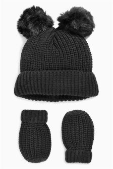 Pom Hat And Mittens Set (Younger Girls)