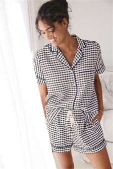 Gingham Cotton Button Through Short Set