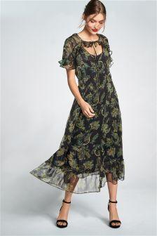 Paisley Print Ruffle Dress