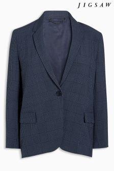 Jigsaw Navy Plaid Jacket