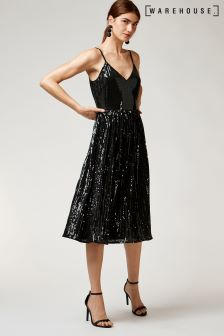 Warehouse Black Sequin Cami Pleated Dress